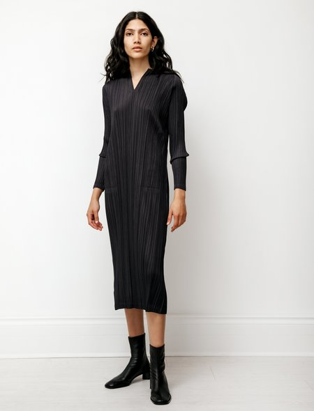 Pleats Please by Issey Miyake High V Neck Dress - Charcoal Black