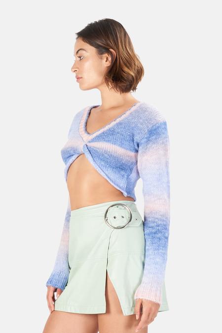Women's For Love & Lemons Celeste Twist Front Crop Sweater - Blue