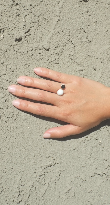 Jujumade Porcelain Double Pearl Ring