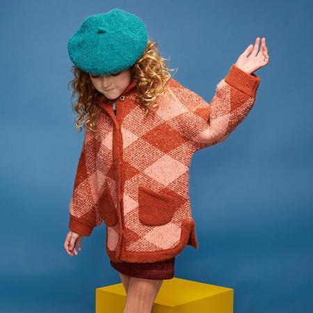KIDS Misha & Puff Child Boucle Poncho Jacket - Red