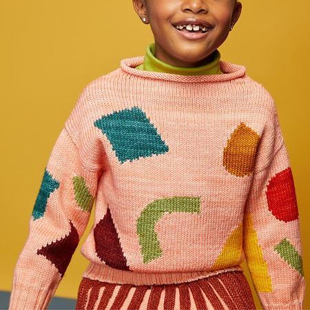 Kids Misha & Puff Child Square Intarsia Sweater - Grapefruit Pink