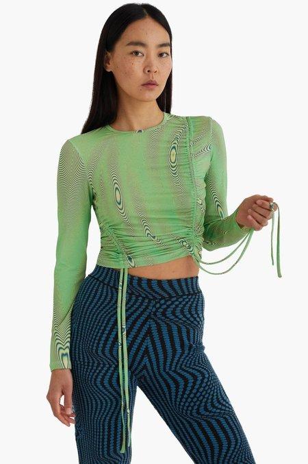 Paloma Wool Darwin Fractal Wave Drawstring Top - Intense Green