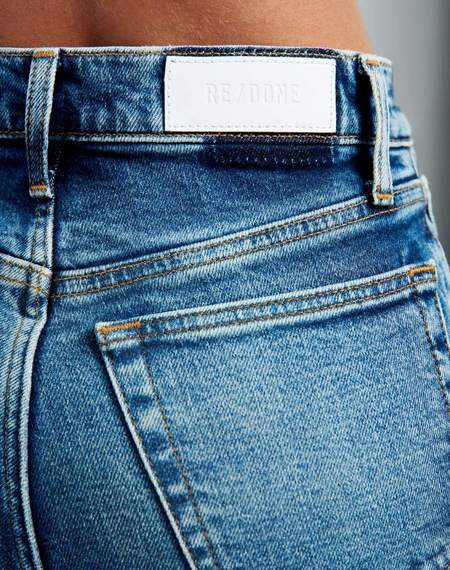RE/DONE 70s Comfort Stretch Ultra High Rise Stove Pipe Jeans - Blue