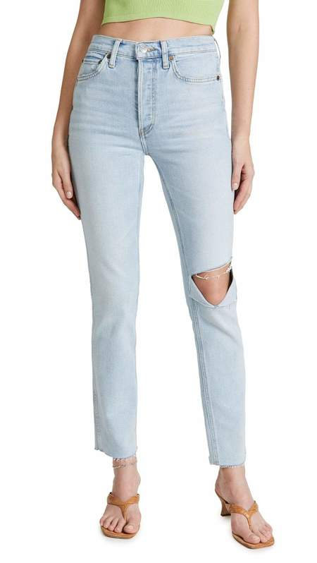 RE/DONE 80s Slim Straight Jeans - Icy Blue