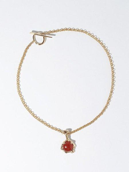 FARIS Lava Amulet necklace - Bronze/Camelian