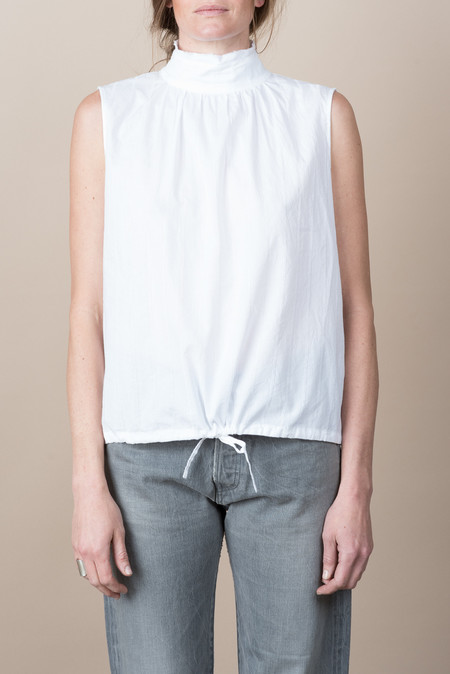 Chimala Cotton Giza Sleeveless High-Neck Blouse In Off White