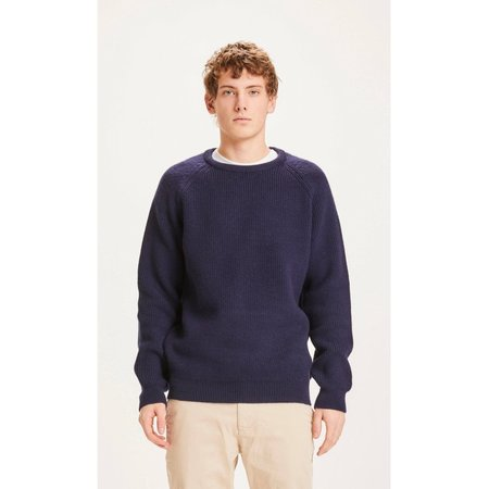 knowledge cotton apparel valley o-neck merino wool rib knit SWEATER - navy
