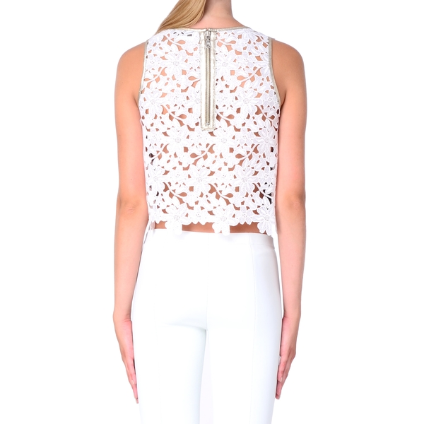 LAMARQUE Bethany Leather and Lace Top