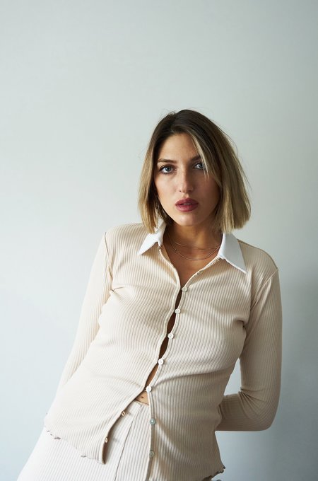 Soft Focus The Collared Cardi - Chino