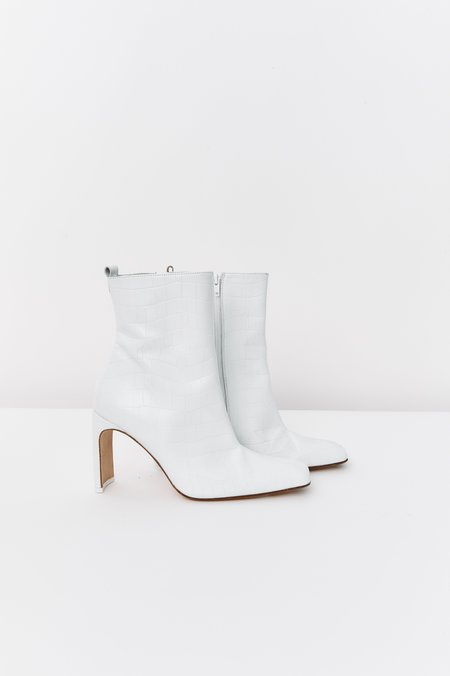 PRE-LOVED Miista Embossed Leather Ankle Boots - White