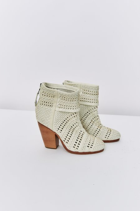 PRE-LOVED Rag & Bone Woven Newbury Ankle Boots - ivory