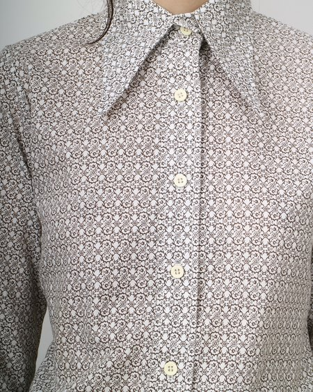 vintage 1970's floral button down top - white/brown
