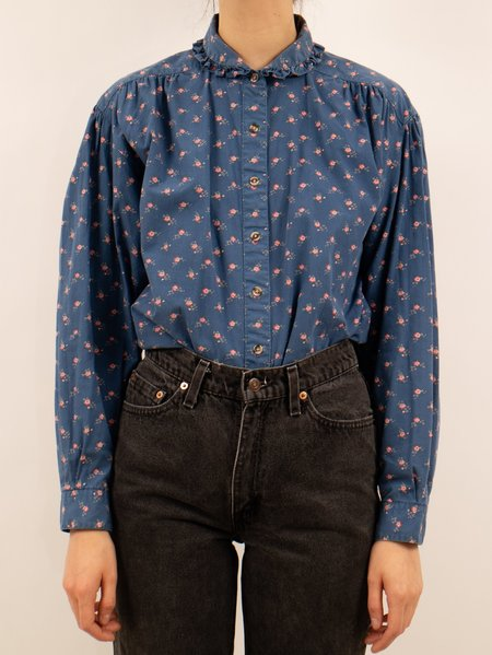Vintage 1980's eddie bauer floral and frill cotton blouse - blue/pink flowers