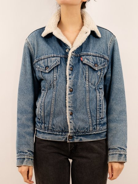 vintage late 80s early 90s Levi's lined trucker jacket - mid/stone-wash