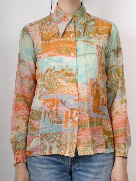 vintage patchwork printed button down shirt - multi