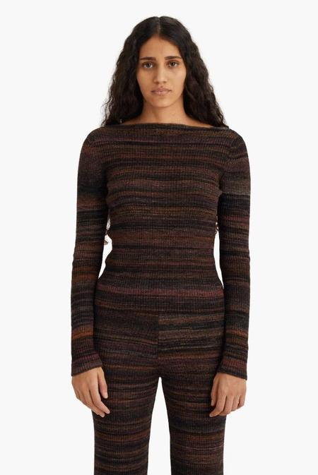 Paloma Wool Concordia Ribbed Knit Long Sleeved Sweater - Black