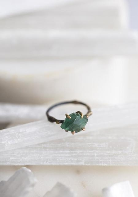 Variance Objects 14k-24k Gold Sterling Silver and Brazilian Emerald Ring - Gold/Silver