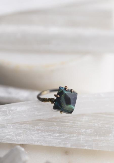 Variance Objects 14k-24k Gold, Sterling Silver and Green Australian Opal Ring - Silver