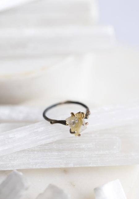 Variance Objects 14k-24k Gold, Sterling Silver and Rutilated Quartz Ring - Silver