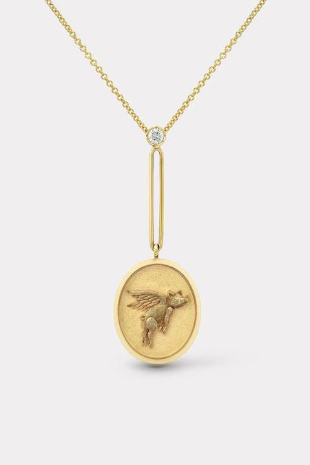 Retrouvai Grandfather Fantasy Signet Flying Pig Pendant Necklace - Gold