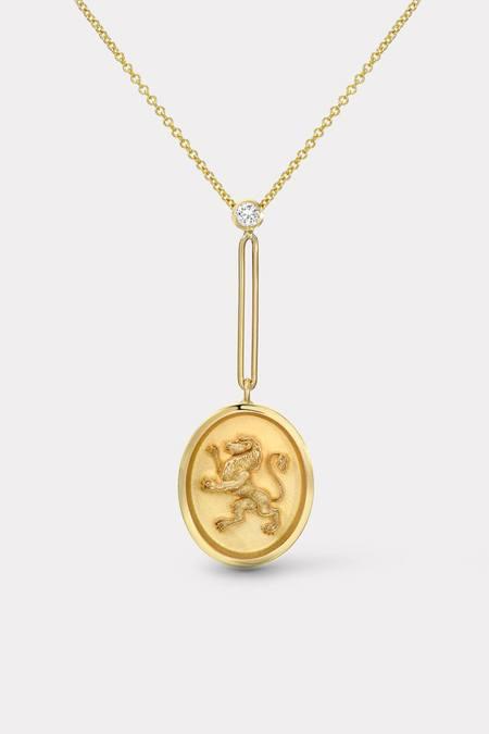 Retrouvai Grandfather Fantasy Signet Lion Pendant Necklace - Gold