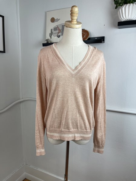 [Pre - Loved] Rag & Bone Varsity V-Neck Sweater - Pink