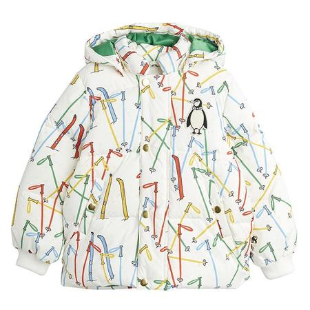 Kids Mini Rodini Skis Puffer Jacket - White