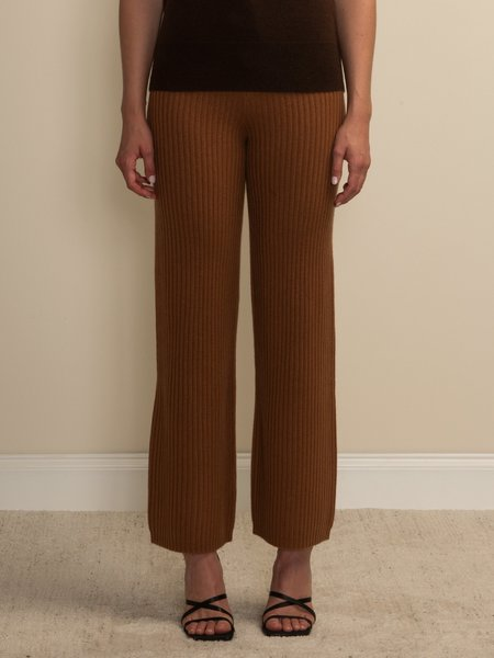 PURECASHMERE NYC Long Straight Fit Pants - Deep Camel