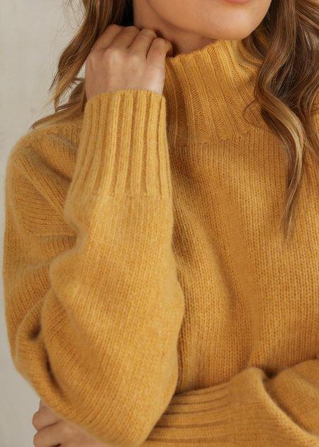 Knititude Natalie Mock Neck Soft Sweater - Mustard