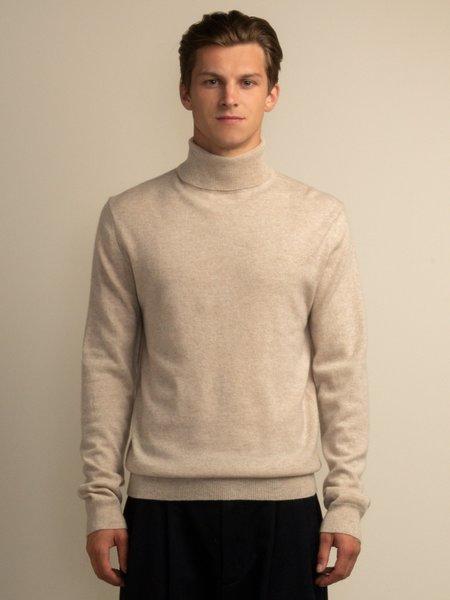 PURECASHMERE NYC Men Turtleneck Sweater - Oatmeal