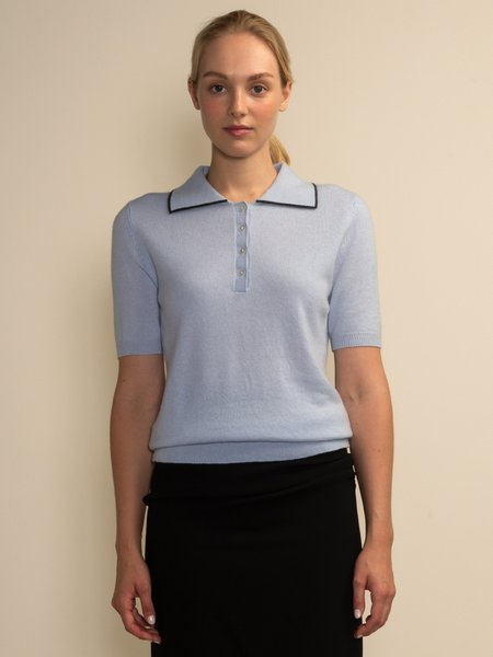 PURECASHMERE NYC Polo Shortsleeve top - Baby Blue