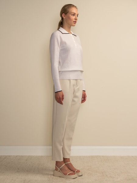 PURECASHMERE NYC Tipped Polo Sweater - Vintage White
