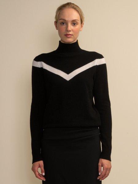 PURECASHMERE NYC V Line High Neck Sweater - Black