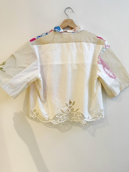 The Series Linen Crop top - White Lace