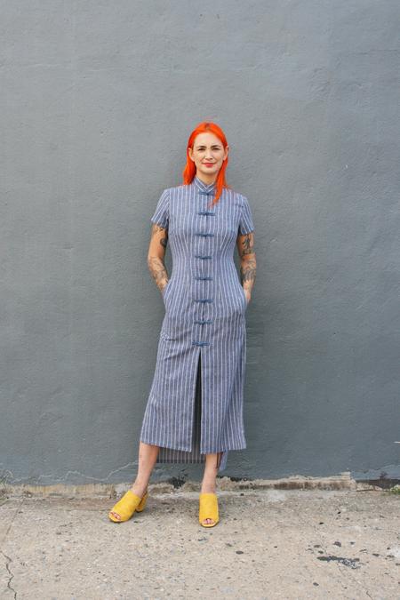 Kurt Lyle Tiko Dress in Cotton Stripe Chambray