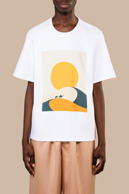 CMMN SWDN Miles Print Rlxd Tee - White