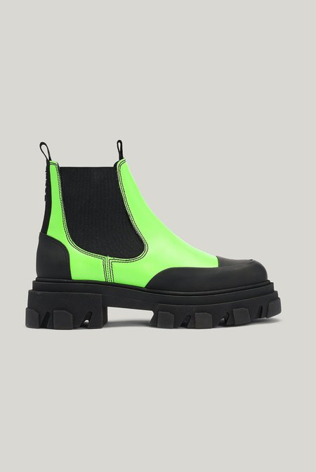 Ganni LEATHER CHELSEA BOOTS - Flash Green