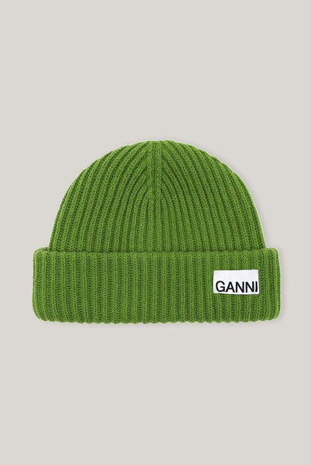 Ganni RECYCLED WOOL BEANIE - Flash Green