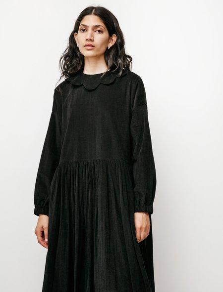 Sara Lanzi Womens Baby Collar Gathered Dress - Black