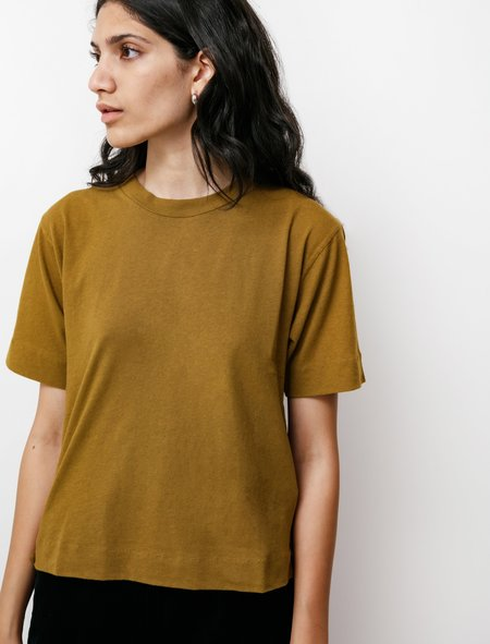 Margaret Howell MHL Simple Cotton Linen T-Shirt - Mustard