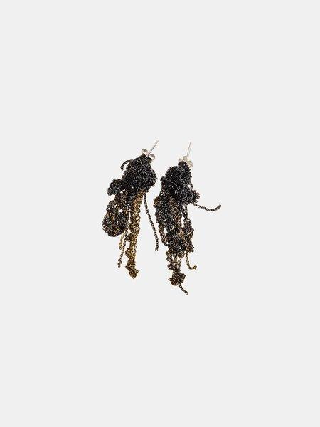 Arielle De Pinto 2-Tone Drip Earrings - Midnight/Burnt Gold
