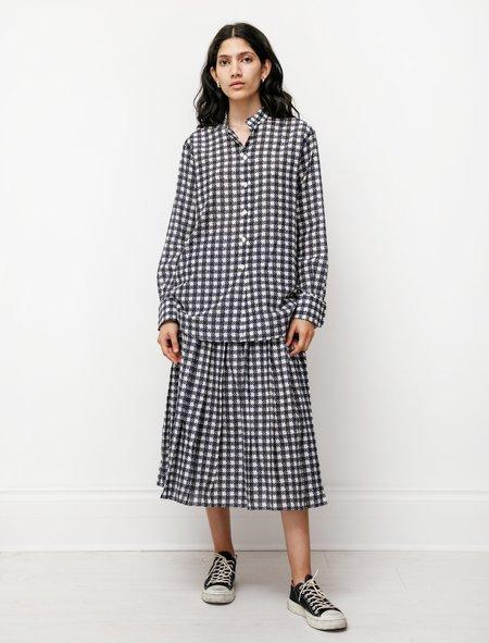 Sara Lanzi Pleated Skirt - Blue Check