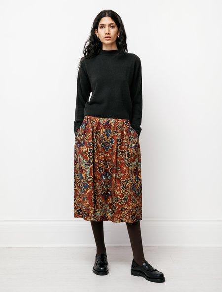 Margaret Howell Pretty Inverted Linen Twill Skirt - Paisley