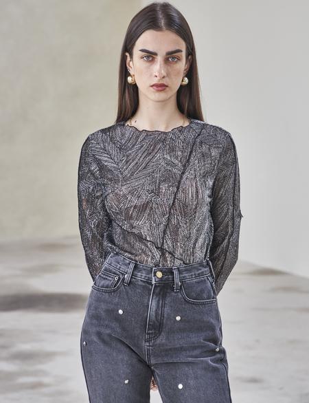 Maison De Ines METALLIC T-SHIRT - black