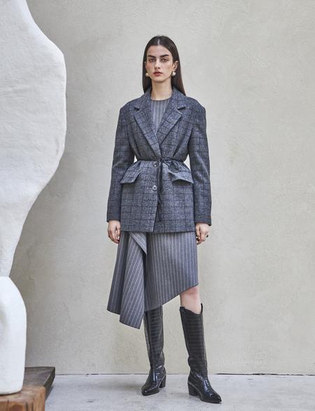 Maison De Ines SOFT GLAN CHECK JACKET - gray