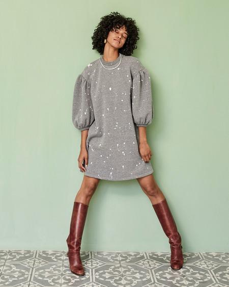 Clare V. Drop Shoulder Sweatshirt Dress - Grey Splash