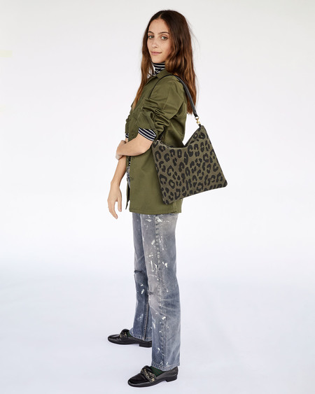 Clare V. Foldover Clutch with Tabs - Army Pablo Suede Cat