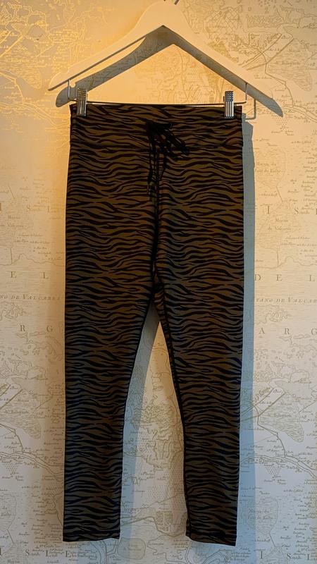 The Upside Malibu Tiger Midi Pant - Olive Malibu Tiger motif