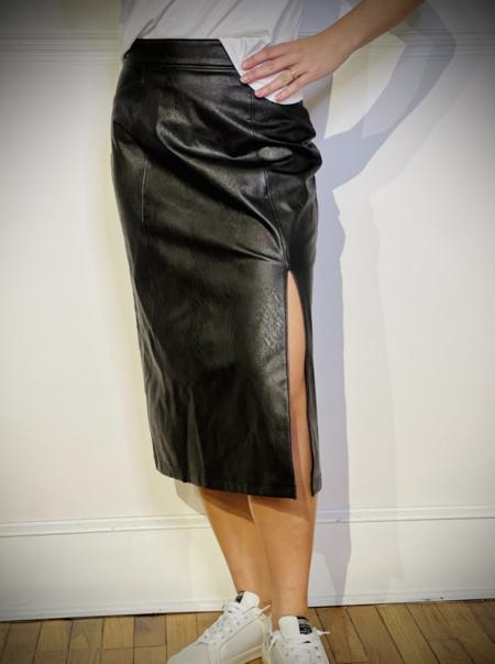 Spanx Leather Like Midi Skirt - Black