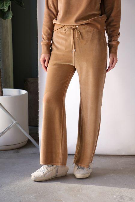 Nili Lotan Daphne Velour Wide Leg Sweatpant in Camel